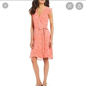 NEW NWT Halston Coral Texture Wrap Dress Midi